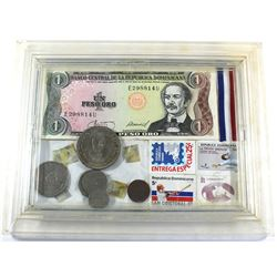 Dominican Republic Banknote, Coin and Stamp Set in Plastic Frame. You will receive a 1 Peso banknote