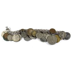 Sterling Silver Bracelet Containing 25 Coins from Around the World Including a Silver 1967 Canada 10