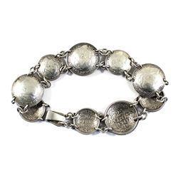 Netherlands Coin Bracelet Made up of 5x 10-cent & 4x 25-cent Curved Silver Coins.