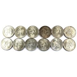 Lot of 1968 Mexico 25 Pesos Olympic Silver Coins. Contains 6.336oz Fine Silver total. 12pcs