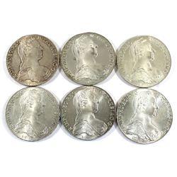Lot of 1780 Austria Thaler Restrike Silver Coins. 4.51oz Fine Silver total. 6pcs