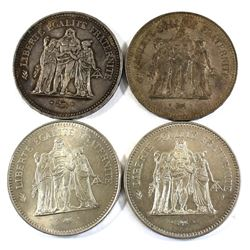 Lot of 2x 1974, 1975 & 1977 France 50 Francs Silver Coins. 3.472oz Fine Silver total. 4pcs