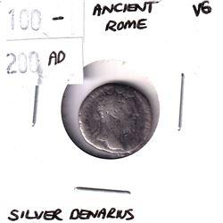 100-200 AD Ancient Rome Silver Denarius Very Good.