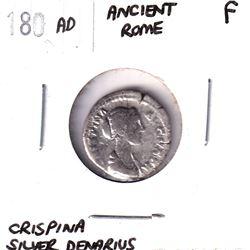 180 AD Ancient Rome Crispina Silver Denarius Fine.