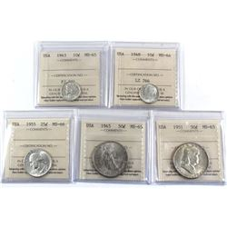 1943-1955 USA 10-cent, 25-cent & 50-cent ICCS Certified - 1943 10-cent MS-65, 1948 10-cent MS-64, 19