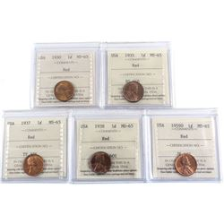 1930-1959 USA 1-cent ICCS Certified MS-65 Red - 1930, 1935, 1937, 1938 & 1959D. 5pcs