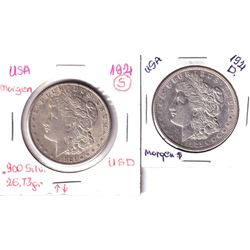 1921D & 1921S USA Morgan Silver Dollars. 2pcs