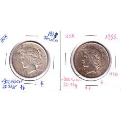 1922 & 1923 USA Peace Silver Dollars. 2pcs