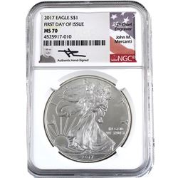 2017 USA 1oz American Eagle NGC Certified MS-70 First Day of Issue, Authentic Hand-Signed (toned). T