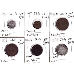 1815-1867 Italy Coinage VG-F to Extra Fine. Coins contain various impairments. 6pcs