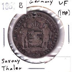 1861B Germany Saxony Thaler Very Fine (impaired).