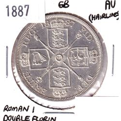 1887 Great Britain Roman I Double Florin Almost Uncirculated (Hairlines).