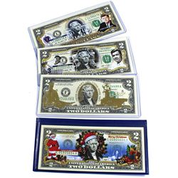 Lot of USA Legal Tender $2 Coloured or Gilded Commemorative Banknotes. You will receive notes commem