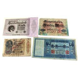 1910-1923 Germany Banknotes in Fine or Very Fine - Pick #42 1910 100 Mark , Pick #49b 1914 59 Mark,