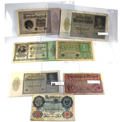 1914-1923 Germany Banknotes from VG to VF-EF. Notes contain various impairments. 7pcs