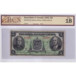 1943 $5 630-20-02, Royal Bank of Canada, Dobson-Wilson, Check Letter B, S/N: 012687, BCS Certified F