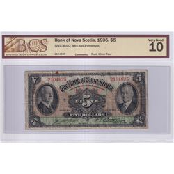 1935 $5 550-36-02, Bank of Nova Scotia, S/N: 2104635, BCS Certified VG-10 (small rust spots & minor