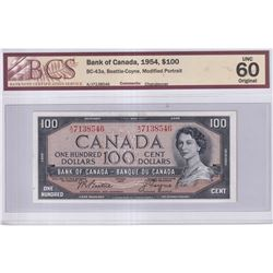 1954 $100 BC-43a, Bank of Canada, Beattie-Coyne, Modified Portrait, Changeover, S/N: A/J7138546, BCS