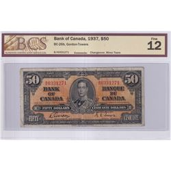 1937 $50 BC-26b, Bank of Canada, Gordon-Towers, Changeover, S/N: B/H0331271, BCS Certified F-12 (Min