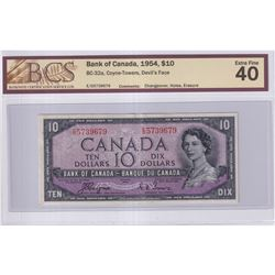 1954 $10 BC-32a, Bank of Canada, Devil's Face, Coyne-Towers, Changeover, S/N: E/D5739679, BCS Certif