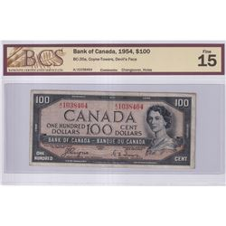 1954 $100 BC-35a, Bank of Canada, Devil's Face, Coyne-Towers, Changeover, S/N: A/J1038464, BCS Certi