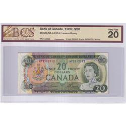 1969 $20 BC-50b-N1-ii-N10-ii, Bank of Canada, Lawson-Bouey, 2 Digit RADAR & 3 Cycle Repeated Serial