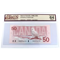 1988 $50 BC-59d-N1-iii, Bank of Canada, Knight-Dodge, 3 Digit RADAR Serial Number FME9976799, BCS Ce