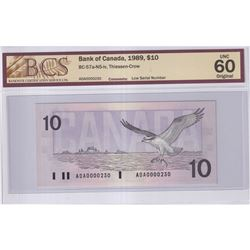 1989 $10 BC-57a-N5-iv, Bank of Canada, Thiessen-Crow, Low Serial Number ADA0000230, BCS Certified UN