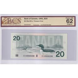 1991 $20 BC-58a-N5-iv, Bank of Canada, Thiessen-Crow, Low Serial Number EIA0000230, BCS Certified CU