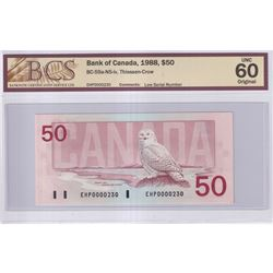 1988 $50 BC-59a-N5-iv, Bank of Canada, Thiessen-Crow, Low Serial Number EHP0000230, BCS Certified UN