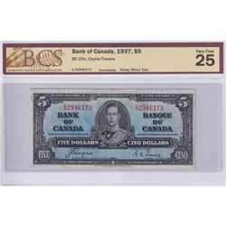 1937 $5 BC-23c, Bank of Canada, Coyne-Towers, S/N: E/S2946173, BCS Certified VF-25 (Holes, Minor Tea