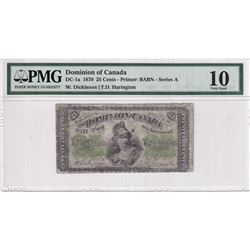 1870 25c DC-1a, Dominion of Canada, Dickinson-Harington, Series A, PMG Certified VG-10.