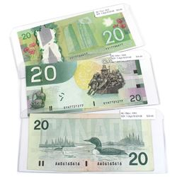 1991, 2004 & 2012 Bank of Canada $20 Banknotes with 3 Digit RADAR Serial Numbers - 1991 AW06165616,