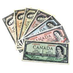 1954 Bank of Canada Modified Portrait $1 Through $100 Full Denomination Run. 7pcs