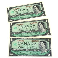 1967 Bank of Canada $1 Centennial Banknotes Beattie-Rasminsky Signatures with Consecutive Serial Num