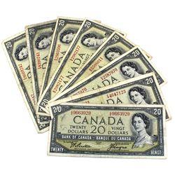 Group Lot of 8x 1954 Modified $20 Banknotes, 7x Beattie-Rasminsky, BC-41b and 1x Beattie-Coyne, BC-4