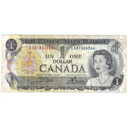 1973 $1 BC-46bT Bank of Canada Note, Crow-Bouey, EXA1326366, F-VF (Note contains 2 small tears on th