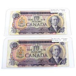 2x 1971 $10 BC-49cA Bank of Canada Notes, Lawson-Bouey Signatures Both F-VF - Prefixes *TT (light st