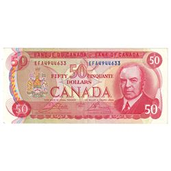 1975 $50 BC-51b Bank of Canada Note, Crow-Bouey, EFA4944633, VF-EF (2 small holes to the left around