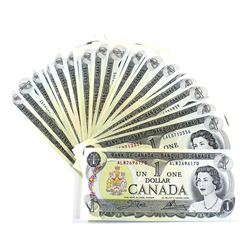 1973 $1 Bank of Canada Notes with 3-Letter Prefixes UNC+. 45pcs