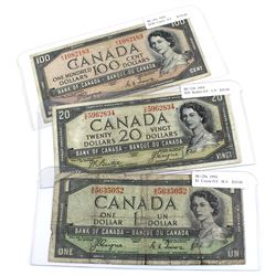 1954 $1, $20 & $100 Bank of Canada Devil's Face Notes - BC-29a $1 Coyne-Towers, BC-33b $20 Beattie-C