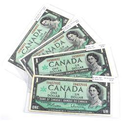 1967 $1 BC-45b Bank of Canada Notes with Beattie-Rasminsky Signatures - 2x O/O & 2x L/O Prefixes. EF
