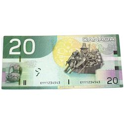 2005 $20 BC-64a-i Bank of Canada Note with Neat Serial Number - EYY1234543.