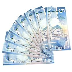 2008 $5 Bank of Canada Notes Jenkins-Carney Signatures with Consecutive Serial Numbers APV2360206-21