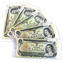 1973 $1 BC-46aA Bank of Canada Replacement Notes with Different Prefixes - *GL, *IL, *MC, *MM & *MZ.
