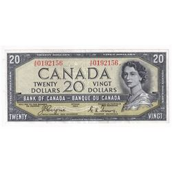 1954 Devil's Face $20 Banknote, Coyne-Towers, BC-33a. S/N: A/E0192156. Note is in average circulated