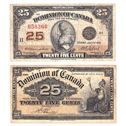 1900 DC-15b Boville & 1923 DC-24d Campbell 25-cent Dominion of Canada Notes Very Fine. 1900 has writ