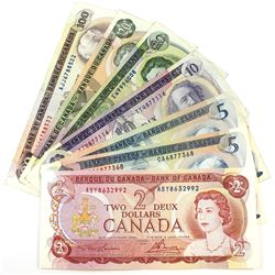 7x Bank of Canada Multicoloured Series Banknotes. You will receive $2, 1972 $5, 1979 $5, $10, 1969 $