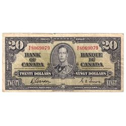 1937 $20 BC-25b Bank of Canada, Gordon-Towers, B/E8069079, Fine. Note has some minor damage.