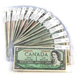 15x 1954 Bank of Canada Modified Portrait Notes. You will receive 1x $1 BC-37b-i, 6x $1 BC-37c, 1x $